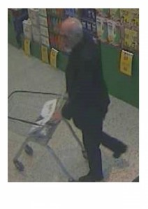 The suspect is described as white, in his 60s, with a white goatee-style beard and white hair around his ears and back of his head, with a bald patch on top.